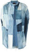 Saint Laurent patchwork denim cape - women - Cotton - XS