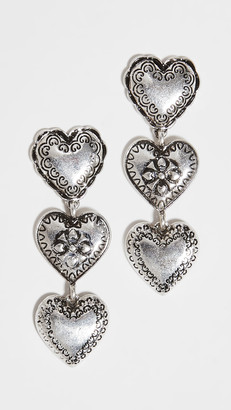 Stella + Ruby Silver Heart Drop Earrings