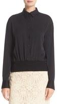 DKNY Point Collar Button Through Stretch Silk Pullover