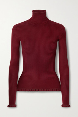The Row Arzino Ruffled Ribbed Cashmere And Silk-blend Turtleneck Sweater - Red