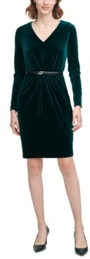 Calvin Klein Velvet Belted Sheath Dress