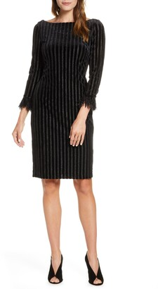 Mark & James by Badgley Mischka Metallic Stripe Feather Cuff Sheath Dress