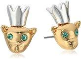 Betsey Johnson Marie Antoinette Mouse & Crown Stud Earrings