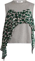MSGM Contrast silk-panel cotton-jersey top