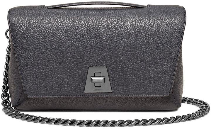 Akris Calf Leather Flap Bag w/Chain Strap, Denim