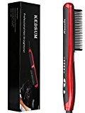 KEDSUM Ceramic Hair Straightener Brush,Instant Heat Hair Straightening Styling Detangling Brush,Anion Hair Care & Anti Scald Design for Silky Frizz-free Hair