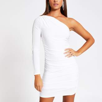 River Island Womens White one shoulder diamante trim mini dress