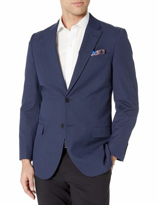 Nautica Men's Bi-Stretch Slim Fit Suit Separate (Blazer and Pant) Navy Plaid 46 L