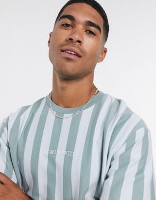 Topman MCMX striped t-shirt in green & blue