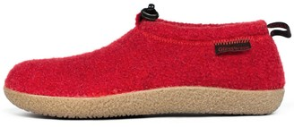Giesswein Slipper Vent chilli 38 - Closed felt slippers Warm unisex houseshoe Tough anti-slip sole Slippers with cord for men & women Comfortable mules incl. interchangeable leather footbed inlays