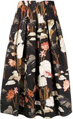 Etro Floral-Print Midi Full Skirt