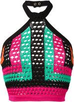 Balmain cropped knitted halterneck - women - Cotton/Polyamide/Viscose - 36