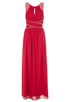 Quiz Berry Chiffon Embelished Keyhole Maxi Dress