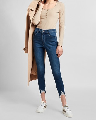 Express High Waisted Knit Ripped Raw Hem Cropped Skinny Jeans