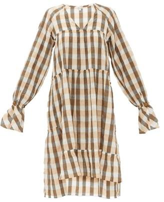 Belize - Medina Tiered Gingham Cotton-blend Dress - Orange Multi