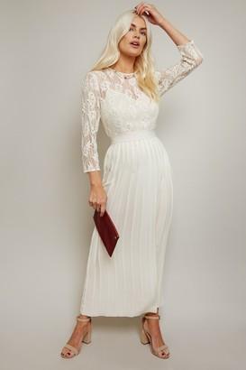 Little Mistress Simona Cream Lace Pleated Midaxi Dress