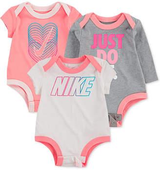 Nike Baby Girls 3-Pk. Cotton Logo Bodysuits