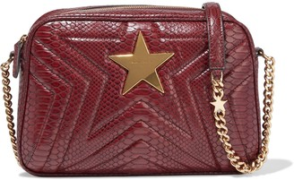 Stella McCartney Quilted Faux Snake-effect Leather Shoulder Bag