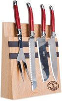 Laguiole 5-Piece Kitchen Knife Set with Magnetic Block in Red