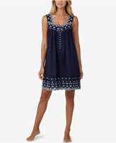 Eileen West Embroidered Scallop-Edged Short Nightgown