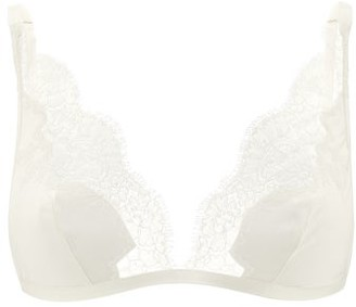 Carine Gilson Lace-trimmed Silk-satin Soft-cup Bra - Cream