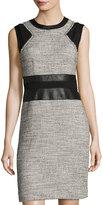 Rebecca Taylor Sleeveless Sheath Tweed Dress, Black/White