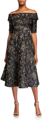 Rickie Freeman For Teri Jon Textured Jacquard Off-the-Shoulder Elbow-Sleeve Fit-&-Flare Dress