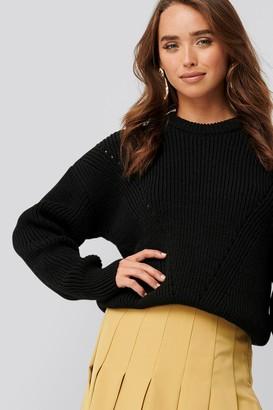 NA-KD Wool Blend Pointelle Stitch Sweater Black