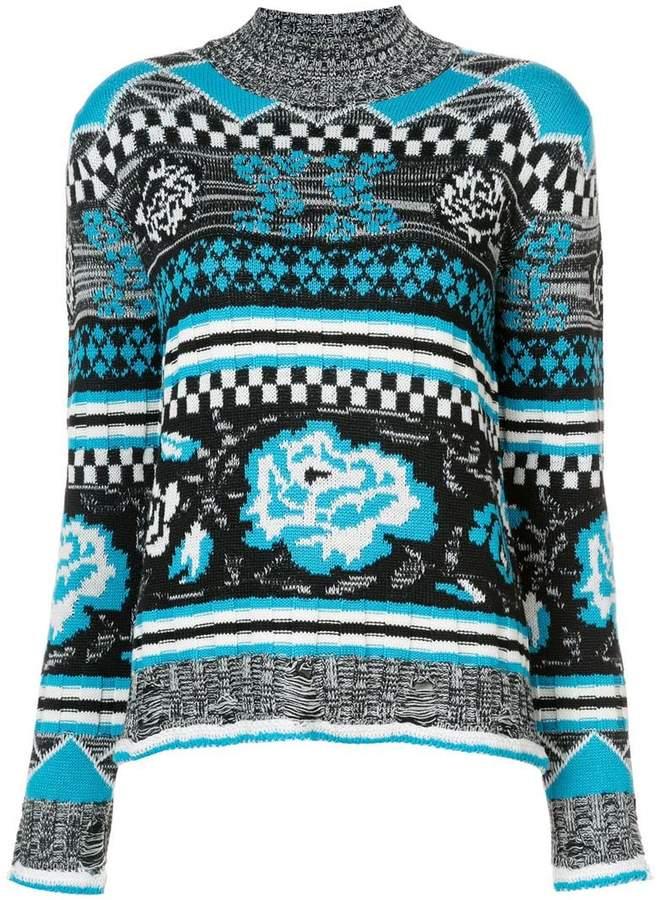 MSGM long intarsia knit jumper