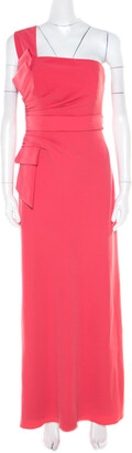Armani Collezioni Salamander Pink Crepe Pleated Bow Trim One Shoulder Evening Gown M