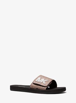 Michael Kors Logo Glitter Slide Sandal