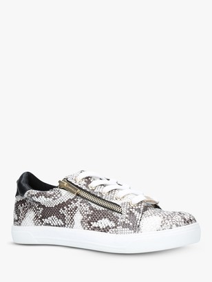Carvela Jagged Lace Up Trainers, Beige/Multi