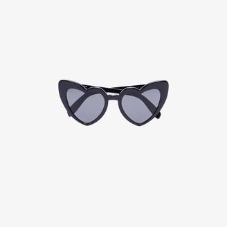 Saint Laurent Eyewear Black New Wave 181 Loulou Heart Sunglasses