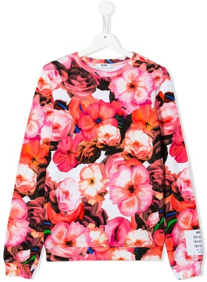 MSGM Kids floral print sweatshirt