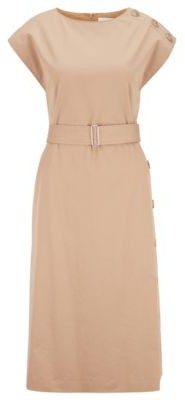 HUGO BOSS Midi Length Dress In Stretch Cotton With Button Details - Beige