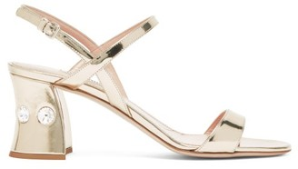 Miu Miu Crystal Embellished Block Heel Sandals - Womens - Gold