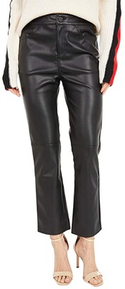 Sanctuary Leather Like Kick Crop (Black) Women's Casual Pants