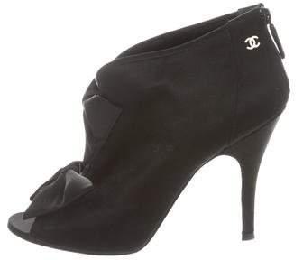 Chanel Satin Peep-Toe Booties