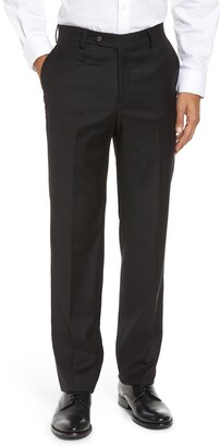 Berle Flat Front Stretch Solid Wool Trousers