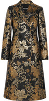 Dolce & Gabbana Double-breasted Metallic Floral-jacquard Coat - Gold