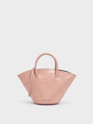 Charles & Keith Croc-Effect Trapeze Tote