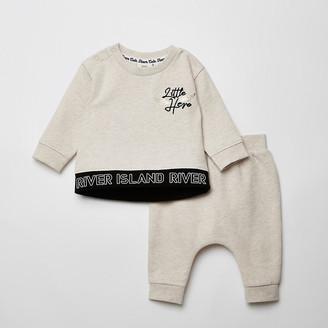 River Island Baby cream 'Little hero' sweatshirt outfit