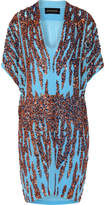 By Malene Birger Summi Sequin-embellished Chiffon Mini Dress - Light blue