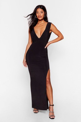 Nasty Gal Womens Deep Your Eyes on Me Plunging Maxi Dress - Black - 6, Black