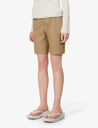 ANDERSSON BELL Diego straight-leg high-rise wool-blend shorts