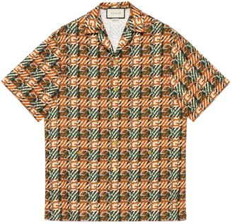 Gucci Woven effect G print cotton bowling shirt