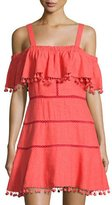 Red Carter Aster Pompom-Trim Sundress/Coverup, Red