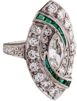 Ring Platinum Art Deco Diamond & Synthetic Emerald Cocktail