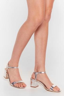 Nasty Gal Womens Keep On Walkin' Metallic Block Heel Sandals - Grey - 7