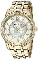 Nine West Women's NW/1744WMGB Easy To Read Swarovski Crystal Accented Gold-Tone Bracelet Watch